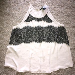 NWOT Forever 21 Cream Tank with Lace Detail